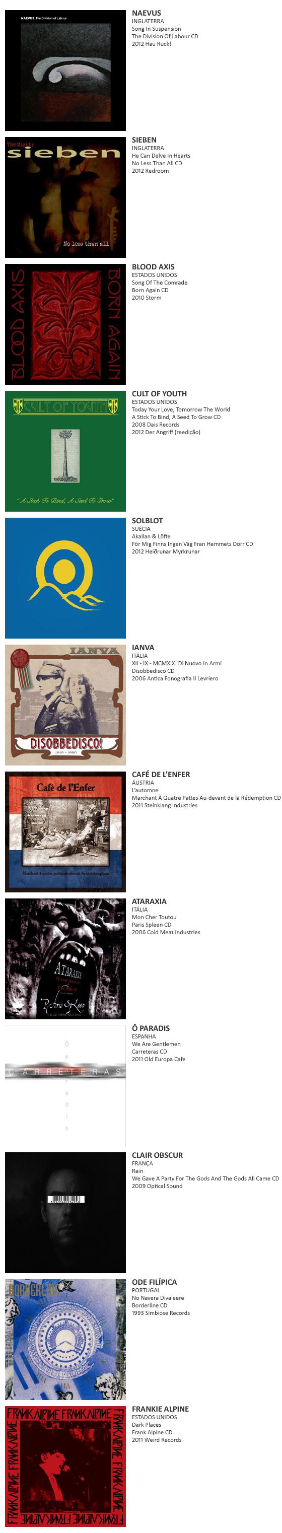Naevus, Sieben, Blood Axis, Solblot, Cult Of Youth, Café de L'enfer, Ianva, Ataraxia, Ô Paradis, Clair Obscur, Ode Filípica, Frankie Alpine