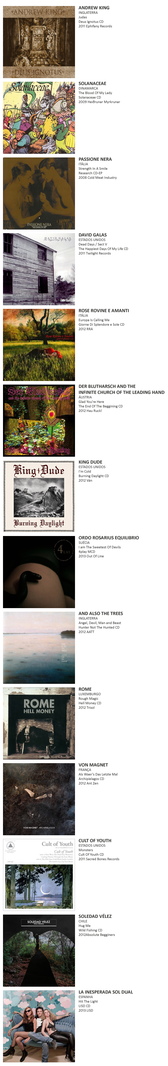 ANDREW KING, SOLANACEAE, PASSIONE NERA,  DAVID GALAS, ROSE ROVINE E AMANTI , DER BLUTHARSCH AND THE INFINITE CHURCH OF THE LEADING HAND, KING DUDE, ORDO ROSARIUS EQUILIBRIO, AND ALSO THE TREES,  ROME, VON MAGNET, CULT OF YOUTH, SOLEAD VÉLEZ, LA INESPERADA SOL DUAL